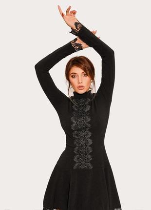 Платье трикотажное бохо черное