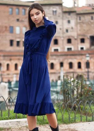 Платье ретро темно-синее замшевое