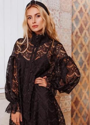 Платье оверсайз кружевное черное стильное