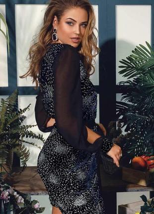 Коктейльное платье на запах velor navy blue