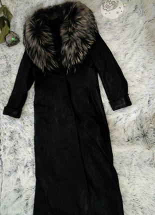 Кожаное пальто длинное натуральный мех