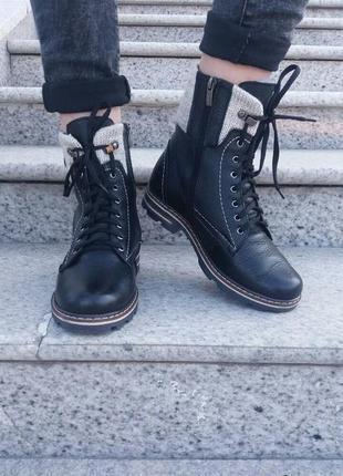 Кожаные зимние женские ботинки по мега скидке