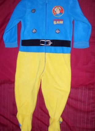 Пижама комбинезон слип флисовый 2-3 года рост 92-98см