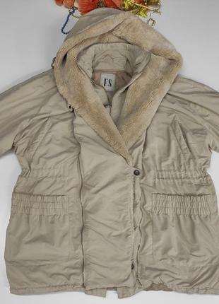 Женская бежевая куртка-трансформер осень - зима размер 60