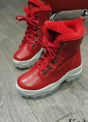 Тренд сезона! спортивные зимние ботинки на оригинальной подошве