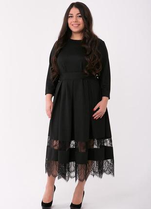 Черное красивое платье для полных женщин флоренс