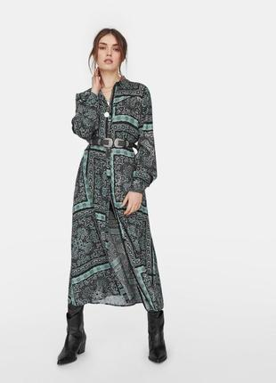 Длинное платье рубашка от stradivarius