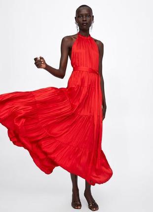 Длинное вечернее сатиновое платье от zara