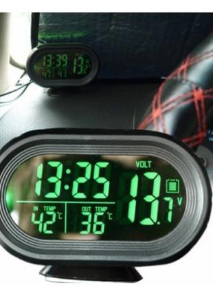 Автомобильные часы с термометром и вольтметром VST-7009 Plus
