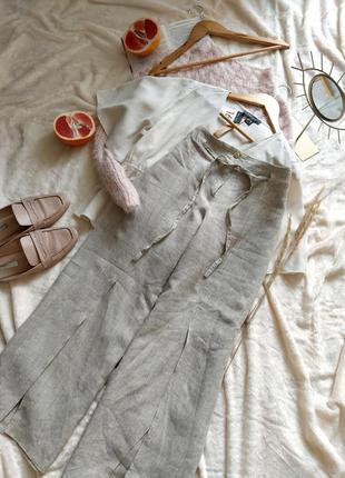 Оригинальные льняные брюки с разрезами по ножке италия