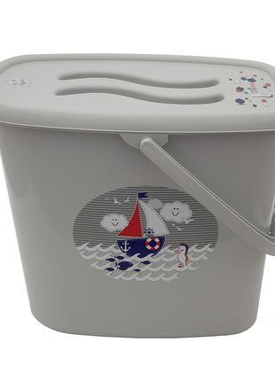 Ведерко для подгузников и воды Maltex Ocean & sea 5535 grey