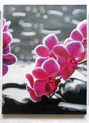 """Триптих """"Орхидеи"""", холст, масло, (30х49см, 46х60см, 30х49см)"""