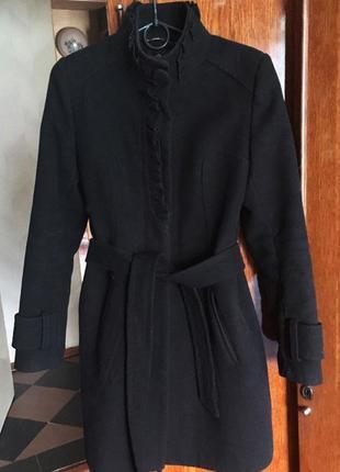 Черное пальто осень-зима теплое