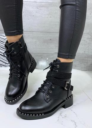 Зимние ботинки на низком ходу,чёрные ботинки на низком каблуке