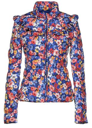 Демисезонная яркая куртка с цветами love moschino оригинал