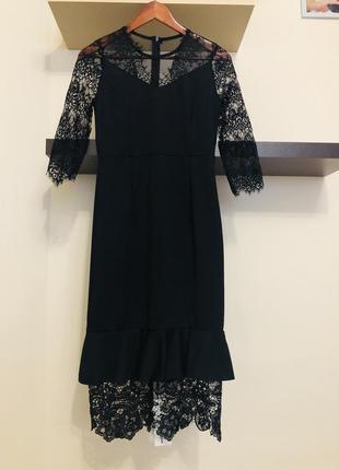 Элегантное вечернее платье с кружевом, платье гипюровое, плать...
