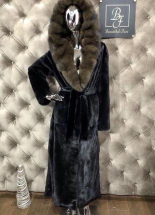 Норковая шуба с капюшоном соболь, 135 см blacknafa, 48-50,