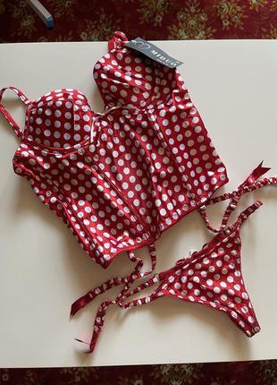Новый комплект корсет и стринги белье женское жіноча білизна