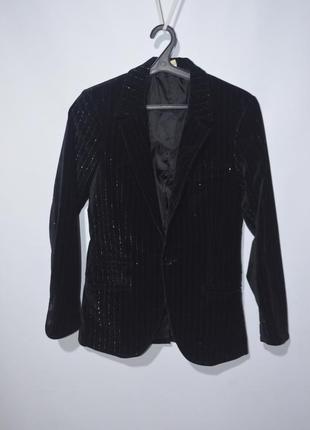 Пиджак с блестящей полоской бархатный