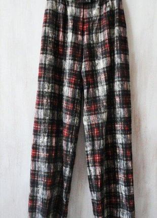 Немецкие шерстяные брюки в клетку, винтаж, на подкладке
