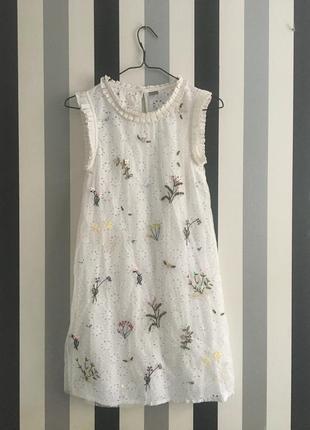 Красивое белое летнее платье с аппликацией next