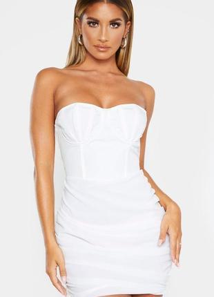 Ликвидация товара 🔥 белое мини платье бандо