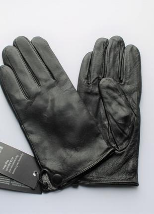 Мужские кожаные перчатки, подкладка махра черные