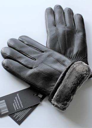 Мужские кожаные перчатки зимние, на меху, черные