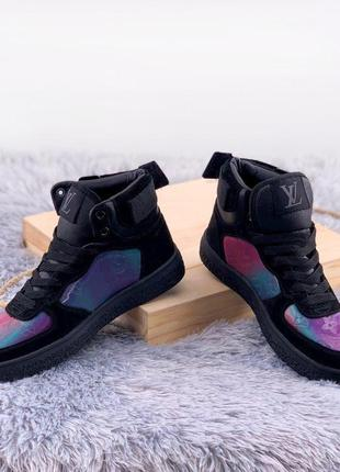 Стильные и крутые женские зимние высокие чёрные кеды/кроссовки...