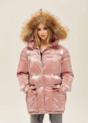 Зимний пуховик, куртка с натуральным мехом енота, розовый