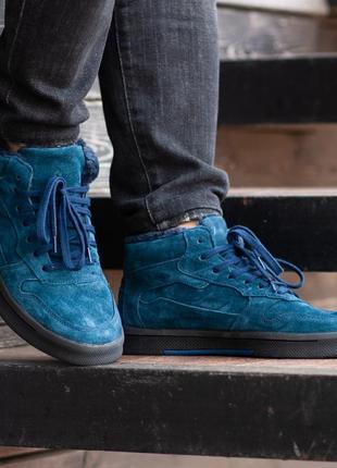 Стильные мужские ботинки south oriole blue, синие с мехом, чол...