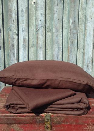 Коричневое постельное белье, льняное постельное белье