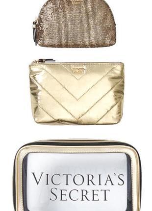 Victoria's secret набор из 3х косметичек золото оригинал