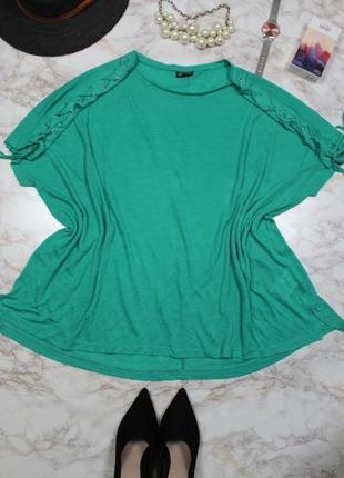 Джемпер/кофточка зеленая свободного кроя шнуровка на плечах la...