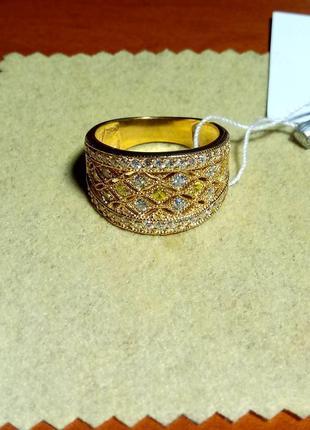 Кольцо серебряное покрыто позолотой с цирконами