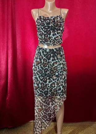 Леопардовый костюм топ и юбка