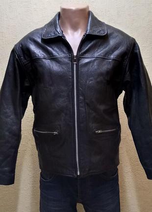 Байкерская мужская кожаная куртка