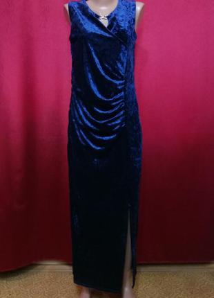 Платье вечернее из велюра в пол