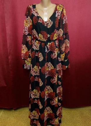 Шикарное шифоновое платье в пол в цветы
