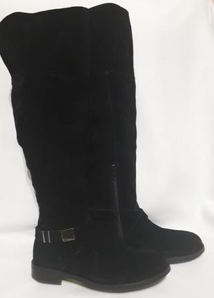 Высокие замшевые черные ботфорты сапоги италия varese