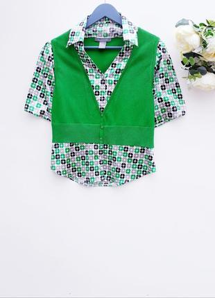 Очень красивый джемпер зеленый джемпер с рубашкой nyx☕🍃
