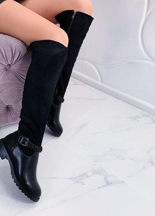 Зимние сапоги ботфорты на низком каблуке,зимние замшевые ботфо...
