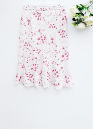 Летняя юбка миди в цветочный принт большой размер