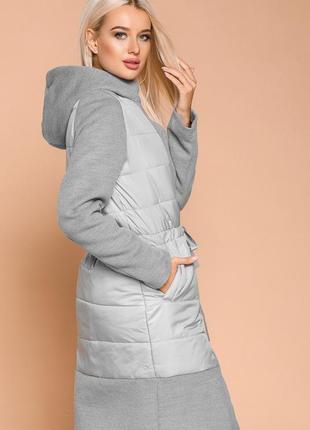 Пальто светло серое кашемир+плащевка