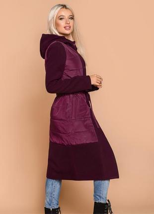 Демисезонное пальто цвета марсала