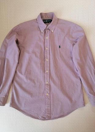 Рубашка ralph lauren в мелкую клетку с длинным рукавом размер s