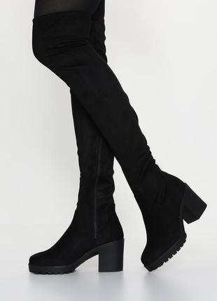 Крутые высокие сапоги чулки ботфорты стрейч 39р. 25,3 см new look