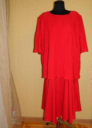 Платье красное нарядное имитация юбки с блузой р. 54-56