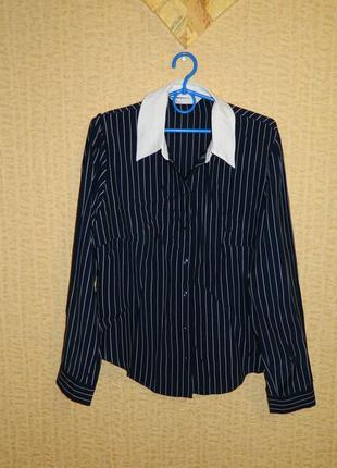 Рубашка блуза женская темно-синяя в белую полоску р. 46-48
