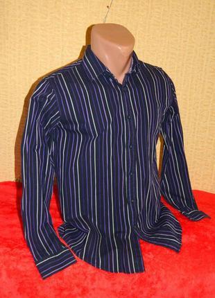 Рубашка черная с фиолетовой полоской на мальчика подростка 14 ...